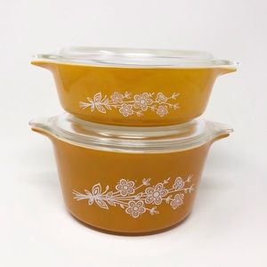 Vintage Pyrex Casserole Dishes Butterfly Gold